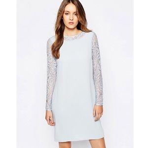 Reiss Cersei Lace Sleeve Shift Dress Size 4
